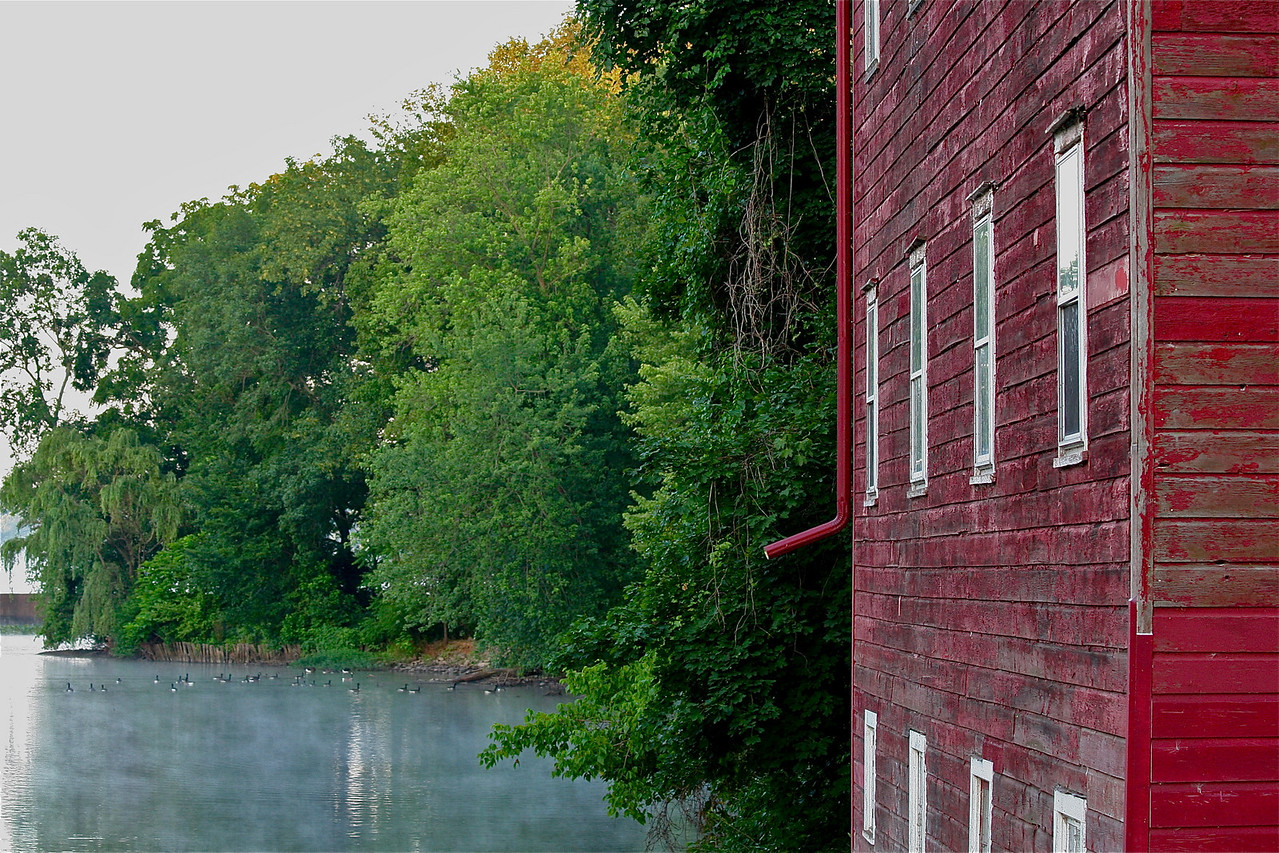 Carnegie Lake dam and Red house